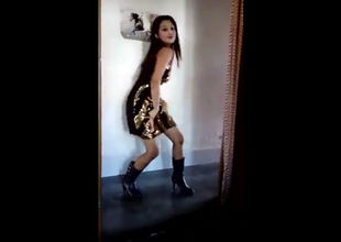 Indian Girlfriend dancing bare-chested