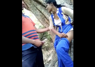 Indian young lady duo boning in jungle
